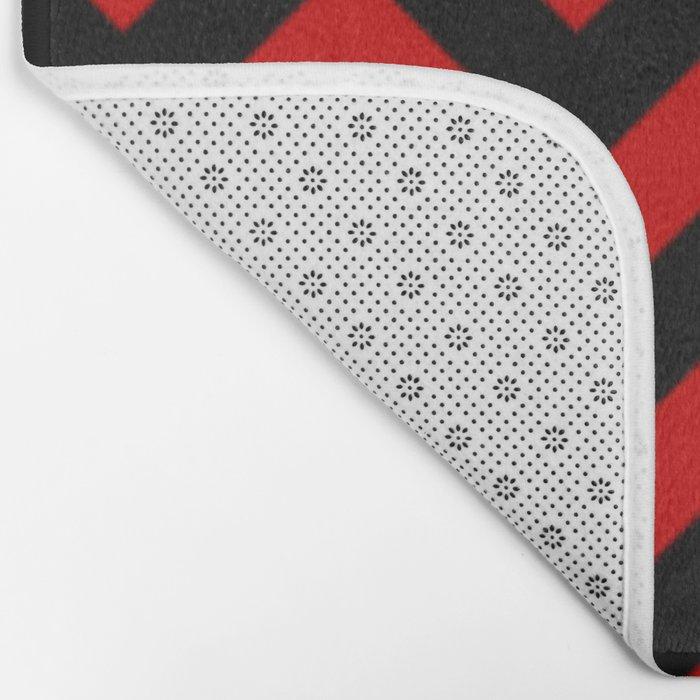 Black and Red Chevron Stripes Bath Mat