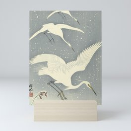 Descending egrets in snow, Ohara Koson Mini Art Print