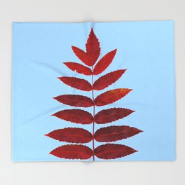 Red Sumac Leaves Throw Blanket