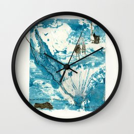 mermaid of Zennor collagraph 1 Wall Clock
