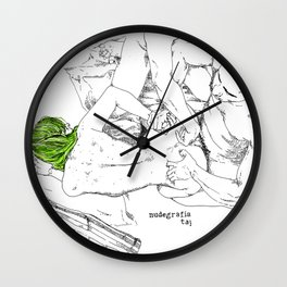 Green hair in ménage à trois Wall Clock