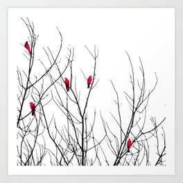 Artistic Bright Red Birds on Tree Branches Art Print