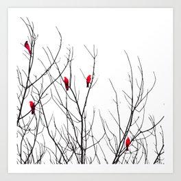 Artistic Bright Red Birds on Tree Branches Kunstdrucke