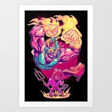 LUCHADORO VS EL DIABLO Art Print