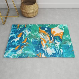 Fluid Acrylic Painting Marbling Flow Earthy Ocean Vibe Rug