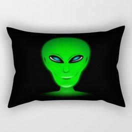 Green Alien Head Rectangular Pillow