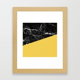 Black Marble and Primrose Yellow Color Framed Art Print