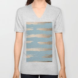 Abstract Paint Stripes Gold Tropical Ocean Sea Blue Unisex V-Neck