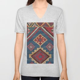 Vintage Woven Kilim // 19th Century Colorful Royal Blue Yellow Authentic Classic Ornate Accent Patte Unisex V-Neck
