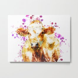 Watercolor Cow Painting, Cow Print, Cow Design, Watercolor Splatter Metal Print