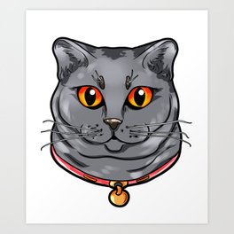 Chartreux Cat Kitty Cats Love Cartoon Gift Face Art Print