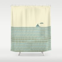 sailboat Shower Curtains featuring SailBoat by Jeremy Lobdell