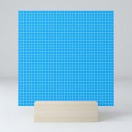 Blue Grid White Line Mini Art Print