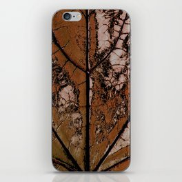 OLD BROWN LEAF WITH VEINS SHABBY CHIC DESIGN ART iPhone Skin