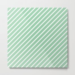Mint Green Tight Stripes Metal Print