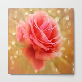 Elegant Golden Rose Glow Metal Print