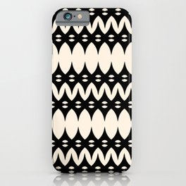 Icelandic Knit Pattern in Black and Almond Cream iPhone Case