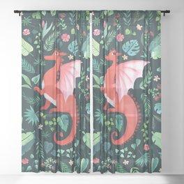 Tropical Dragon Sheer Curtain