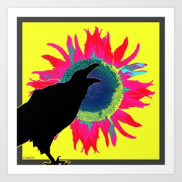 Contemporary Yellow-Fuchsia Floral Cawing Crow/Raven Art Print