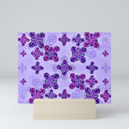 Deluxe Ornate Pattern Design in Blue and Fuchsia Colors Mini Art Print
