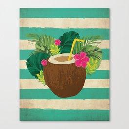Mai Tai Mahalo - Kitschy Hawaiian Cocktail in a Coconut Shell Canvas Print
