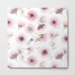 Hand Drawn Blush Florals Metal Print