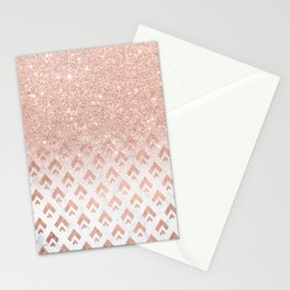 Faux rose gold glitter ombre rose gold foil triangles chevron geometric on white marble Stationery Cards