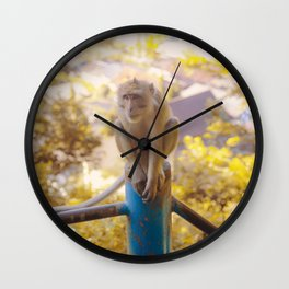 Monkey on the fence Wall Clock