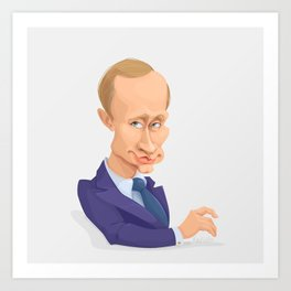 illustration of Russian president Putin on white background Art Print