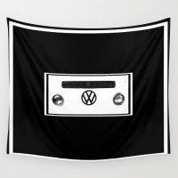volkswagen Wall Tapestries featuring Volkswagen Bus by Derek Delacroix