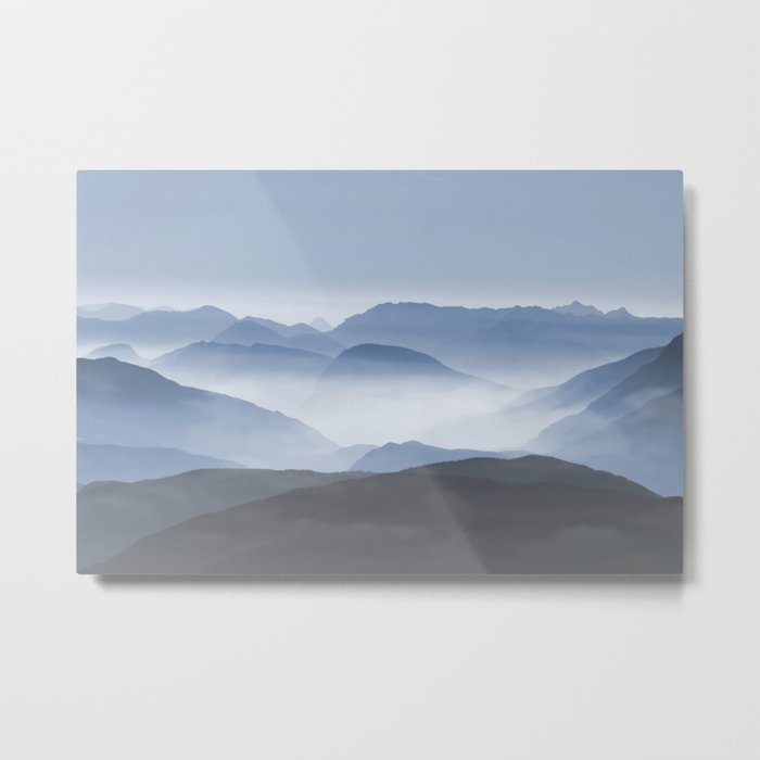 Blue Mountains in Dust - Photoadaption Metal Print