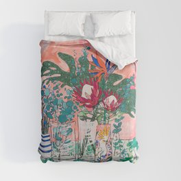 Cockatoo Vase - Bouquet of Flowers on Coral and Jungle Comforters