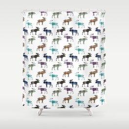 Plaid Moose III Shower Curtain