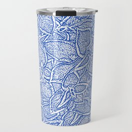 Coleus leaves pattern in blue and white Travel Mug