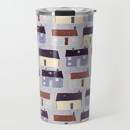 Houses Village Vector Pattern Repeat Seamless Background Travel Mug