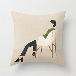 Eames Chair Woman Throw Pillow