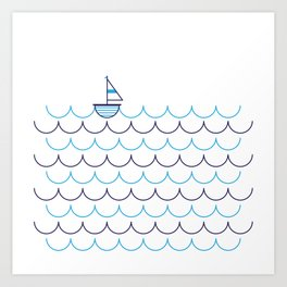 Sail Boat on Water Art Print