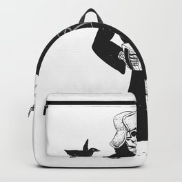 Grim reaper with accordion  - skull musician - black and white Backpack