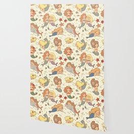 Cute Vintage Style Bff Mermaids Seamless Pattern Wallpaper