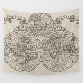 Vintage Map of The World (1701) Wall Tapestry