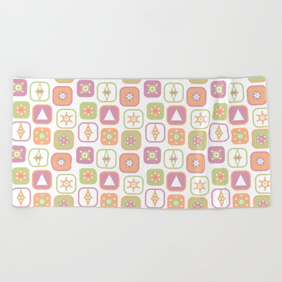 Abstract geometric pattern in pastel colors Beach Towel