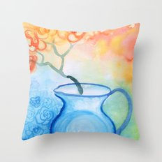 Cherry flowers in the blue jug Throw Pillow