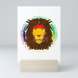 Cool Lion with Dreadlocks and Headband for Lion Lover Mini Art Print