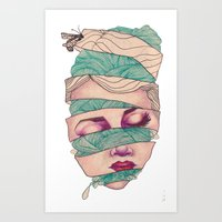 knit Art Prints featuring Knit Head by AW Illustrations