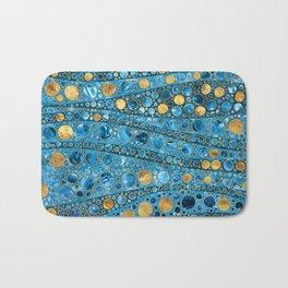Dot Art Waves - Blue Gemstone and Gold Bath Mat