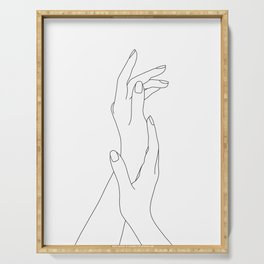 Hands line drawing illustration - Dia Serving Tray
