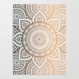 Gold Bronze Mandala Pattern Illustration Poster