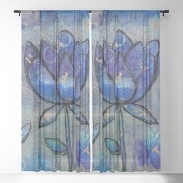Abstract - Lotus flower - Intuitive Sheer Curtain