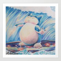 snorlax Art Prints featuring Snorlax Used Surf by LaurelAnneEquineArt