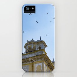 Pigeons Flying through the Sun in front of Chowmahalla Palace in Hyderabad, India iPhone Case
